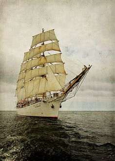 """by smilyjay The Polish three mastet barque """"Dar Młodzieży"""" during the HanseSail 2010 in Rostock-Warnemuende (Germany). Layered with texture. Old Sailing Ships, Us Sailing, Hanse Sail, Yatch Boat, Yacht Cruises, Small Boats, Wooden Boats, Tall Ships, Strand"""