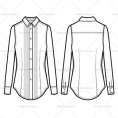 Pleated long sleeve button down shirt with pointed collars. Sleeves have a 2 button cuff with a slit and a pleat. Sketch is CADed up for an easy color/swatch/pa Fashion Design Jobs, Fashion Design Sketches, Fashion Drawings, Fashion Flats, Fashion Outfits, Shirt Sketch, Fashion Sketch Template, Croquis Fashion, Illustrator