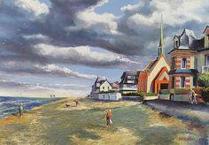 """Stéphan SERAIS """"Menaçants nuages sur la plage de Houlgate""""  #Normandie #Houlgate"""