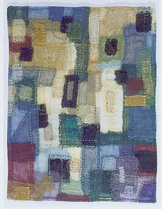 "small, stitched study of colours... about 10 1/2"" x 14""... cheesecloth stitched to sheer silk organza..."