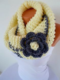 Cream scarf, Chunky Cowl, Womens Accessories, Crochet Cream Loop Scarf