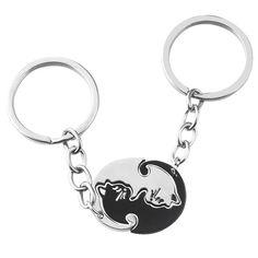 Yin Yang Cat Keychain - Love Cat Design Men Choker, Men Necklace, Fashion Necklace, Black Leather Choker, Cat Couple, Cat Keychain, Couple Necklaces, Yin Yang, Couple Gifts