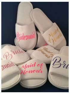 Bridesmaid Slippers, Wedding Slippers, Wedding Shoes, Wedding Dresses, Gifts For Wedding Party, Party Gifts, Party Favors, Spa Party, Wedding Weekend