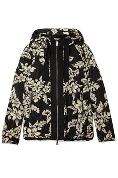 Moncler | Hooded grosgrain-trimmed printed shell jacket | NET-A-PORTER.COM
