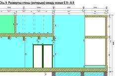Фрагмент развертки стены по оси 9 (интерьер) Столовая - Второй свет - Выход на террасу