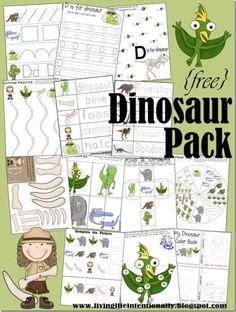 Free Dinosaur Theme, printable activities Pack