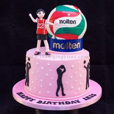 Celebration Cakes - Volley Ball Player Theme Birthday Cake - Indulging Bites - Cakes, cupcakes & more. Volleyball Birthday Cakes, Volleyball Cookies, Volleyball Crafts, 16 Birthday Cake, Themed Birthday Cakes, Themed Cakes, Tulip Cake, Personalised Cakes, Cake Models