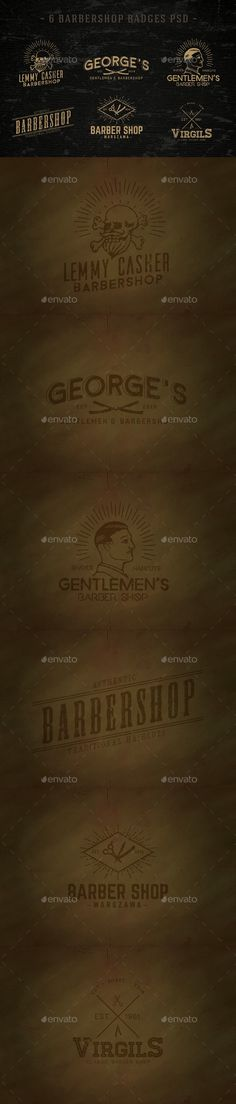 6 Vintage Barbershop Badgeslogo badge & labels made with 100 vector shapes Photoshop that the elements are great for use any desi