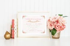 Printable Marriage Certificate - Floral Watercolor 8x10 - Customizable by Red Pearl Designs