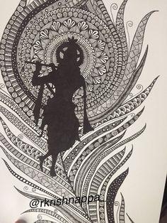 Items similar to Lord Krishna on peacock feather home decor art print. on Etsy Lord Krishna Sketch, Krishna Drawing, Krishna Painting, Krishna Art, Buddha Painting, Krishna Images, Painting Canvas, Dot Painting, Buddha Drawing