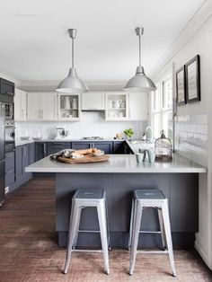 Pendant lights and matching silver stools