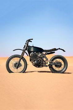 Going Dutch: Boy Janssen's XT 600 desert sled Custom Motorcycles, Custom Bikes, Cars And Motorcycles, Motocross, Dominator Scrambler, Street Scrambler, Yamaha Xt 600, Desert Sled, Tracker Motorcycle