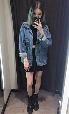 Denim jacket with black crop top, skirt & combat boots by bruhuli