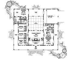 COOL house plans offers a unique variety of professionally designed home plans with floor plans by accredited home designers. Styles include country house plans, colonial, Victorian, European, and ranch. Blueprints for small to luxury home styles. Hacienda Style Homes, Spanish Style Homes, Ranch Style Homes, Spanish Revival, Spanish House, Spanish Colonial, U Shaped House Plans, U Shaped Houses, Dream House Plans