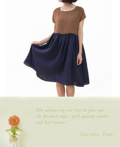 Simple Dress Brown Womens Dresses Loose Summer by OurLittleDaisy, $87.00