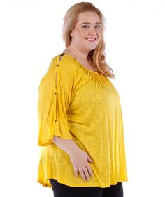 Yellow Button Sleeve Tunic