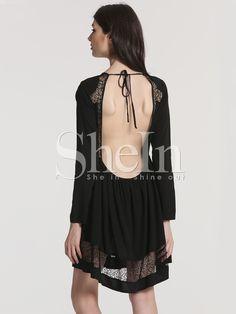 robe contrastée en dentelle à manches longues -Noir