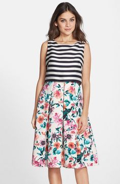 Eliza+J+Mixed+Print+Popover+Dress+(Regular+&+Petite)+available+at+#Nordstrom