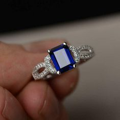 4.0Ct Emerald Cut Blue Sapphire Solitaire Engagement Ring 14K White Gold Finish | eBay