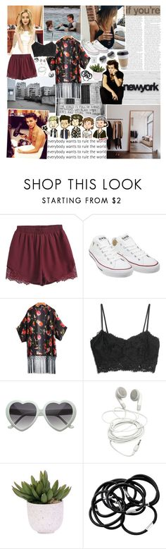 """""""so do you love me?"""" by haylekayle ❤ liked on Polyvore featuring Christies, Converse, MANGO, Lux-Art Silks and H&M"""