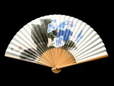 Japanese Hand Fan Hydrangea Flowers F19 Paper by VintageFromJapan