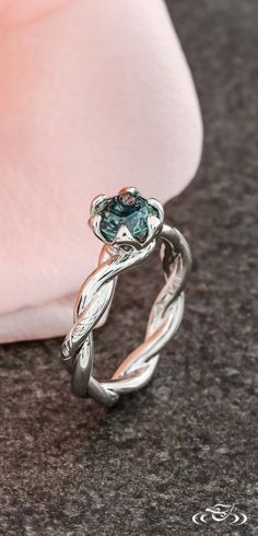 Floral Hand Engraved Montana Sapphire Engagement Ring Green Lake Jewelry
