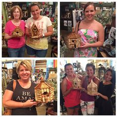 Tonight's Wine Cork Birdhouse Creations! Awesome job ladies, they turned out great! Such a fun night! #letsgetcrafty #wine #birdhouse #lakenorman #lkn #shopsmall #crafts #Pinterest #girlstrong #girlsnight