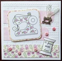 The cutest little buttons, a singer sewing machine metal charm on a tape measure embossed background. A personalised, handmade card for anyone that loves sewing.