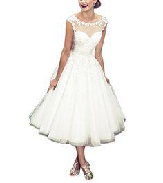 919fbec1917 Women s Elegant Sheer Vintage Short Lace Wedding Dress For Bride at Amazon  Women s Clothing store