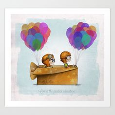 UP+Pixar —+Love+is+the+greatest+adventure++Art+Print+by+Ciara+Panacchia+-+$17.68