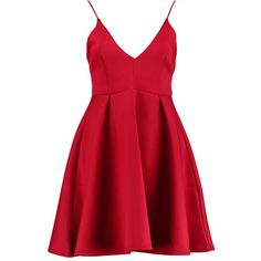 Boohoo Clare Pleat Skirt Bonded Scuba Skater Dress | Boohoo (140 SEK) ❤ liked on Polyvore featuring dresses, midi dresses, bodycon maxi dress, bodycon dress, red dress and red party dresses