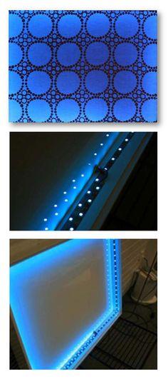 Wellbeing-tekstiilit: Kehällä valaiseva ja väriä vaihtava seinätekstiili, tuotekehitys ja prototyypin valmistus // Tilaaja/Client: Wellbeing-hanke // Suunnittelija/Designer: Marja Lares, 2008