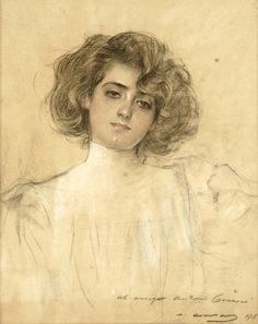 Portrait for his Muse (Dedicated) - Ramon Casas i Carbó 1918 Catalan painter Charcoal on paper Spanish Painters, Spanish Artists, Ramones, Drawing Sketches, Art Drawings, Julia, Art Deco, Illustrations Posters, Painting & Drawing
