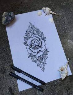 Ideas Tattoo Mandala Flower Rose Ink For 2019 Hand Tattoos, Forearm Tattoos, Body Art Tattoos, Tattoo Drawings, Trendy Tattoos, Love Tattoos, Beautiful Tattoos, Tatoos, Mandala Rose