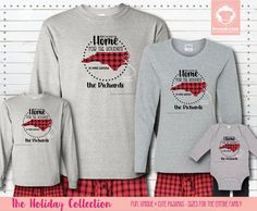 Our Matching Holiday Pajamas are a great way to show some love for your home state during the holiday season. Get these long sleeve shirts personalized for the whole family! #matchingchristmaspajamas #christmaspajamas #familychristmaspajamas #polarexpresspajamas #christmas #holidaypajamas #christmasgift #christmasphotoideas #pajamas #personalizedpajamas #christmas2020 #christmas #pressed4fun #p4f #fununiquecute #holidaypartyoutfit #holidaygift #holidaypartyideas #holidayparty Matching Christmas Pajamas, Family Christmas Pajamas, Holiday Pajamas, Matching Pajamas, Matching Shirts, Christmas Shirts, Christmas Deco, Xmas, Christmas Pictures Outfits