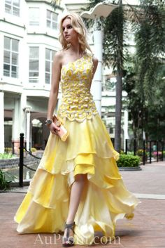 A-line Prom Dresses One Shoulder Sweep Train Asymmetrical Satin Evening Dresses- Yellow Homecoming Dresses, A Line Prom Dresses, Ball Gown Dresses, Bridesmaid Dresses, Wedding Dresses, Chiffon Dresses, Lace Chiffon, Dresses 2013, Prom Gowns