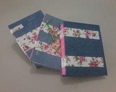 Caderno Artesanal - Jeans Floral
