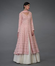 From our Wedding Festive Collection, this is a pressed rose handcrafted Chikankari Anarkali outfit. The anarkali shirt has intricate ivory chikankari jaal all over ( front and back) embellished with antique gold kamdani ( mukaish) work. Salwar Designs, Kurta Designs Women, Kurti Designs Party Wear, Designer Kurtis, Indian Gowns, Indian Attire, Ethnic Outfits, Indian Outfits, Pakistani Outfits