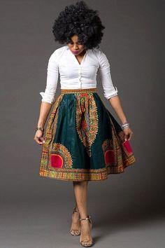 Dashiki skirt, african women's skirt, Angelina style, gathers skirt, African Fashion Skirts, African American Fashion, African Fashion Designers, African Inspired Fashion, African Print Fashion, Skirt Fashion, Fashion Outfits, Fashion Ideas, Fashion Scarves