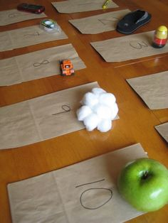 Five Senses - Touch Bags: Let children feel object with bag closed and try to gu