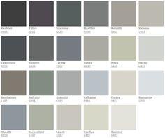 Tikkurila tunnevärit kylmä (tumman harmaata makuuhuoneeseen) Green Wall Color, Wall Colors, Colours, Kitchen Display Cabinet, Kitchen Cabinet Colors, Outdoor Paint Colors, My Ideal Home, Blue Furniture, Of Wallpaper
