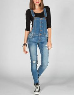 TINSELTOWN Womens Destructed Overalls