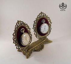 Wintage double brass pocket watch stand