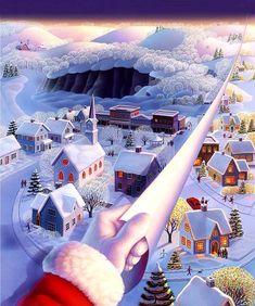 "Photo from album ""Красивая зима"" on Yandex. Christmas Night, Christmas Scenes, Very Merry Christmas, Christmas Art, Christmas And New Year, Christmas Christmas, Winter Illustration, Christmas Illustration, Watercolor Illustration"