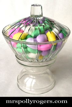 Click here to DIY this elevated candy dish for 1.50 ! Blog instructions & tons of photos and other serving dish ideas from MrsPollyRogers.com