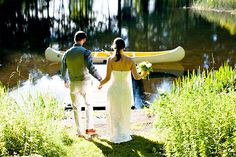 "puritybride: ""wedding getaway with canoe "" Canoe Wedding, Forest Wedding, Wedding Bells, Summer Wedding, Rustic Wedding, Cottage Wedding, Elegant Bride, Pure Romance, Simple Weddings"