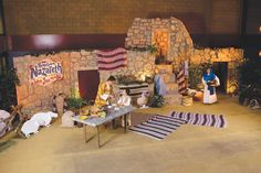 Take your whole congregation back in history without a time machine! Hometown Nazareth Holy Land Adventure VBS is full of vibrant colors, stone buildings, and a comforting, hometown feel. Vbs Crafts, Church Crafts, Heiliges Land, Journey To Bethlehem, Easter Play, Vbs Themes, Christmas Nativity Scene, Christmas Drama, Church Stage Design