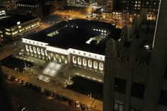 St. Louis Central library at night.