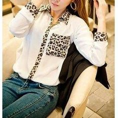 trendsgal.com - Trendsgal Shirt Collar Leopard Print Long Sleeve Blouse For Women - AdoreWe.com