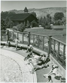 """New York Public Library's """"Picture of the Day"""" is sunbathers poolside in Sun Valley, Idaho!"""